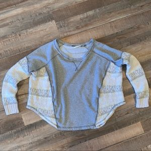 Free People Cropped Boxy Sweater with Knit Sleeves